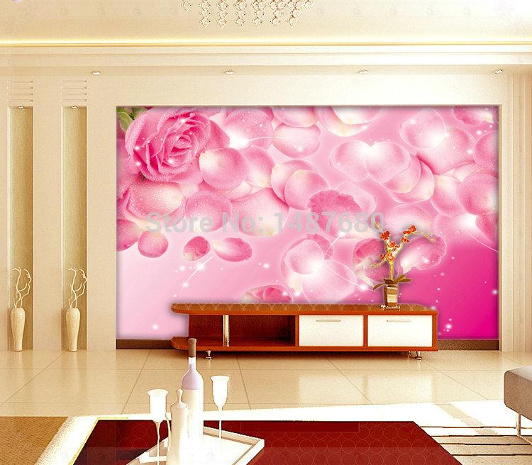 Any size rose custom 3d mural wall paper large mural for 3d rose wallpaper for bedroom
