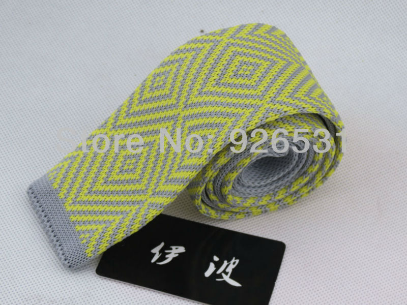 YiBo 214 hot British new Iha tie han edition men's knitted flat 5 cm narrow tie yellow gray diamond lattice marriage ties(China (Mainland))