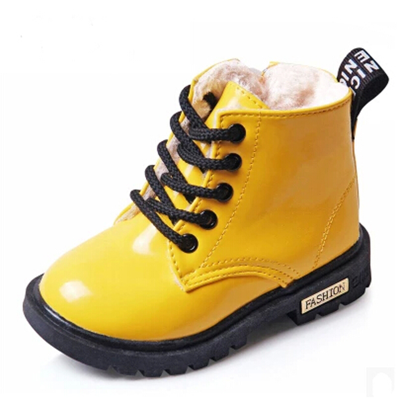 2016 New Winter Children Shoes PU Leather Waterproof Martin Boots Kids Snow Boots Brand Girls Boys Rubber Boots Fashion Sneakers(China (Mainland))