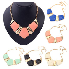 New Candy Color Collar Necklaces Pendants Fashion Statement Metal Choker Necklace For Women 2015 Vintage Jewelry Accessories(China (Mainland))