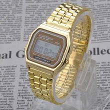 2015 Fashion Retro Vintage Gold Watches Men Electronic Digital Watch LED Light Dress Wristwatch relogio masculino