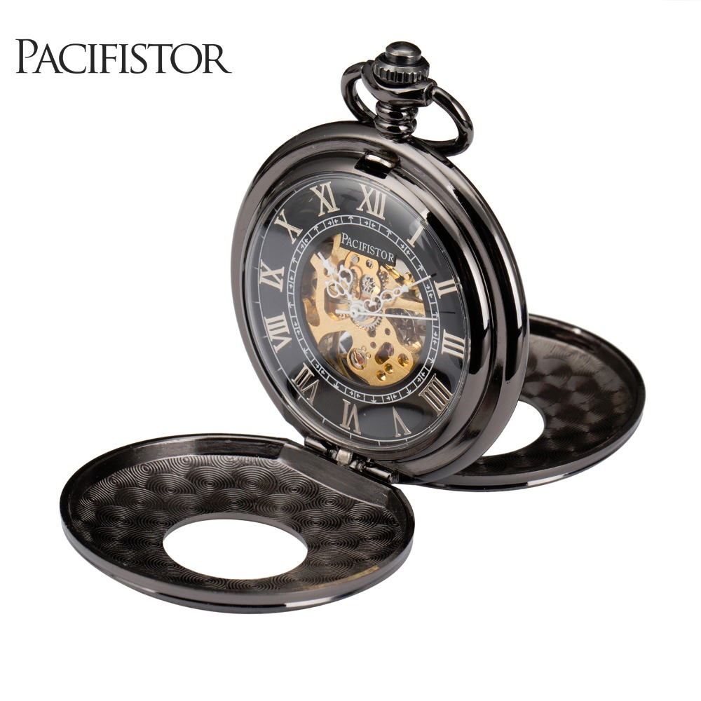 PACIFISTOR Mens Pocket Watch Stainless Steel Mechanical Skeleton Antique Full Metal Reloj Gift Pendant Chain Necklace Watches(Hong Kong)