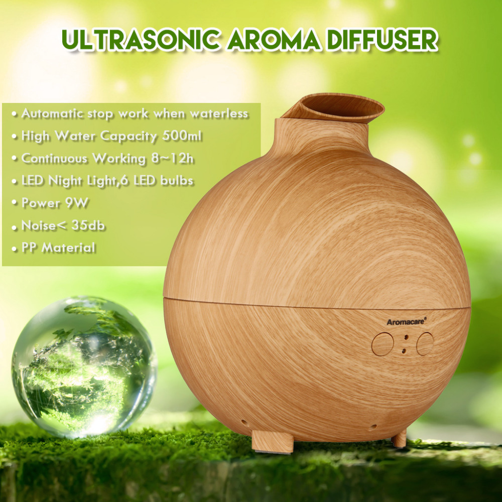500ML Essential Oil Aroma Diffuser Ultrasonic Humidifier Aromatherapy Air Purifier Mist Maker Woodgrain for Home Office(China (Mainland))