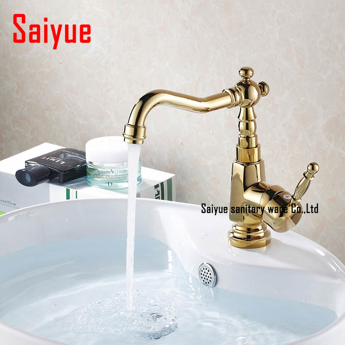 Modern Gold Faucet,gold bathroom faucets,gold finish basin faucets,gold tall high bathroom sink mixer(China (Mainland))