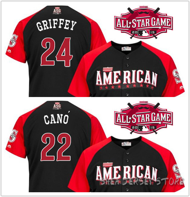 2015 2016 MLB American League All Star game Baseball Jersey AL Seattle Mariners 22 Robinson Cano 24 Ken Griffey Jr Free shipping<br><br>Aliexpress