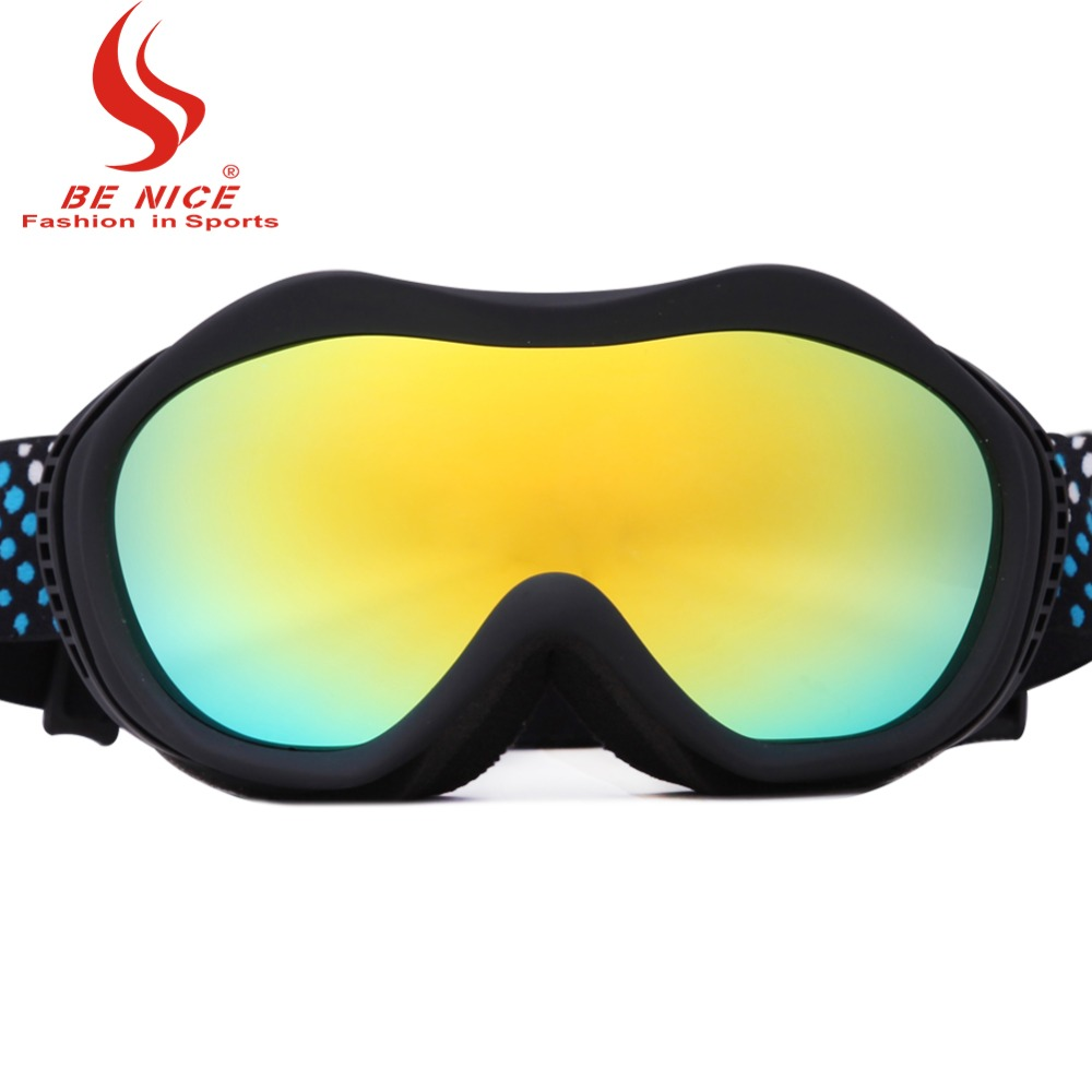 Ladies colorful lens anti fog 100% UV professional and fashion eye wear Sports Protective Safety skiing goggles snow-1400(China (Mainland))