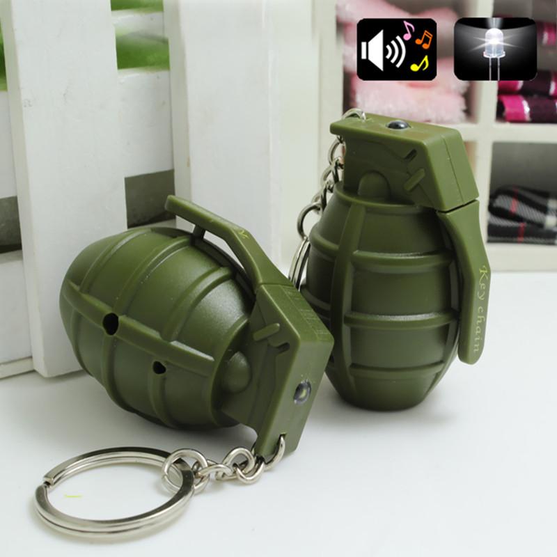 Hot LED C4 Grenade Keychain Sound Flashlight Keychains Simulation Mini Military Keychains Unisex Gift K-069(China (Mainland))