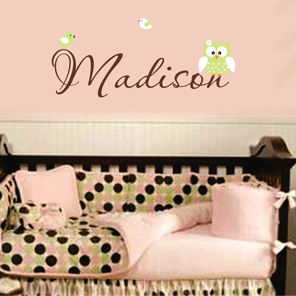 Vinyl Wall Art Quotes For Nursery : Personalized owl wall decal childrens vinyl lettering