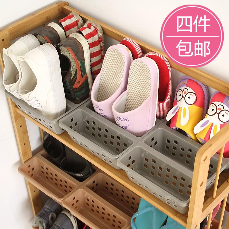 Simple plastic 3 shoes storage rack shoe hanger japanese style shoes storage box 60396(China (Mainland))