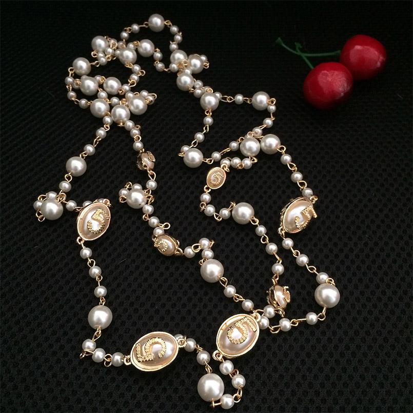 HTB1sgmKPFXXXXbwXFXXq6xXFXXXe - classic design gold chain number 5 Flowers Pearl necklaces Double layer Sweater necklace collier sautoir long statement jewelry