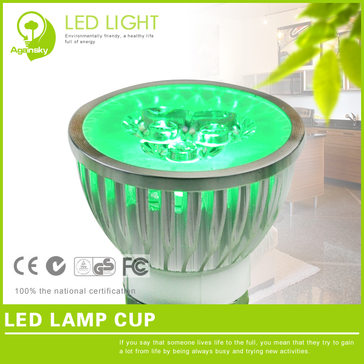 4 pieces/lot CE RoHS E27 LED lamp cup 85-265V Red/Green/Warm white/white Multi-color 3*1W Non-dimmable LED spotlight(China (Mainland))