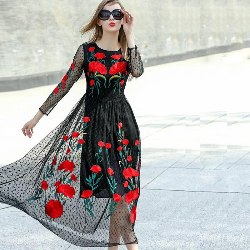 Платья рубашки 2018 новинки черные с вышивкой