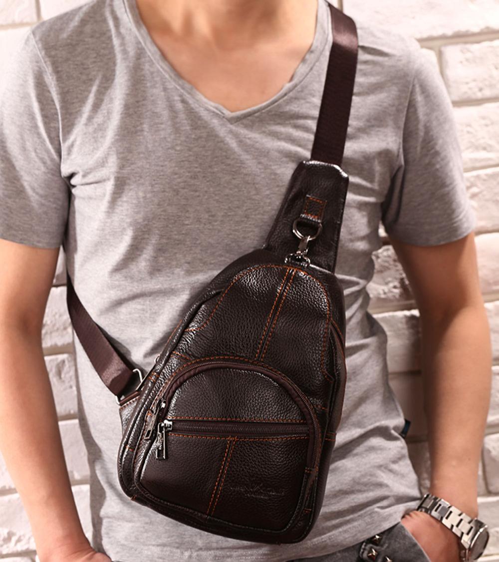 Men Vintage Genuine Leather Travel Hiking Motorcycle Cross Body Messenger Shoulder Sling Day Pack Chest Bag(China (Mainland))