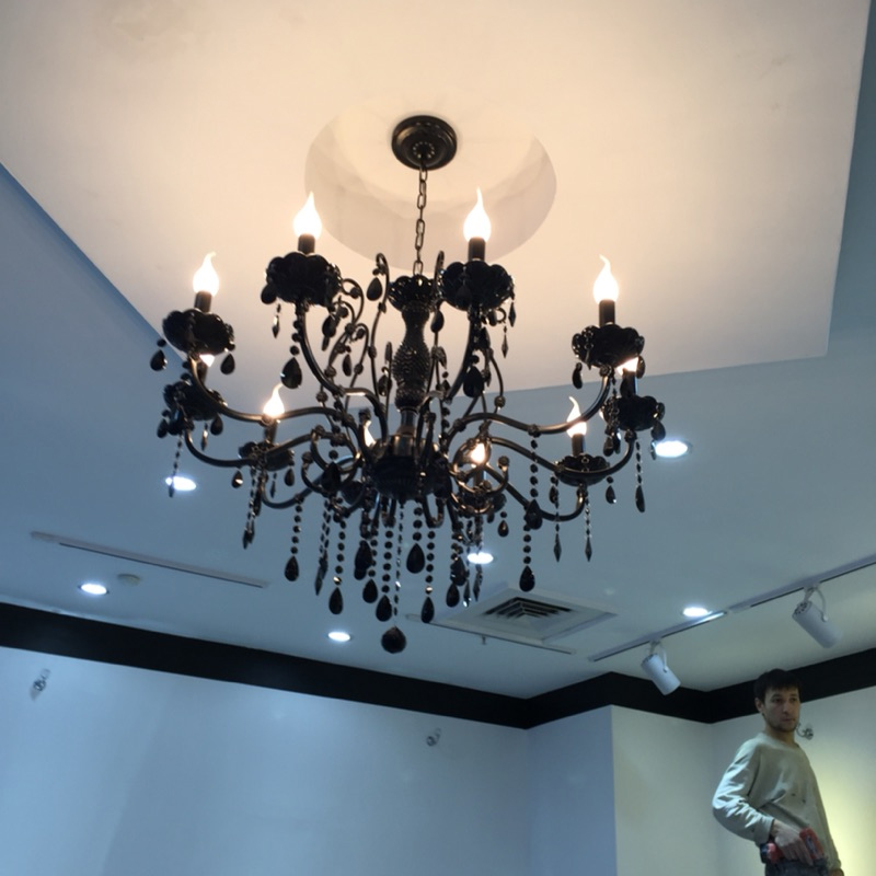 modern black crystal chandelier with crystal pendants wrought iron chandeliers 10 lights led bedroom black chandelier crystal(China (Mainland))