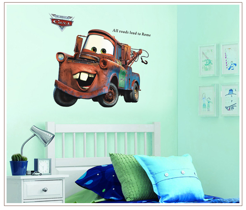Free shipping 60*90CM pixar cars Mater wall stickers All Roads Lead to Rome quote vintage decals boy cartoon truck vinyl mural(China (Mainland))