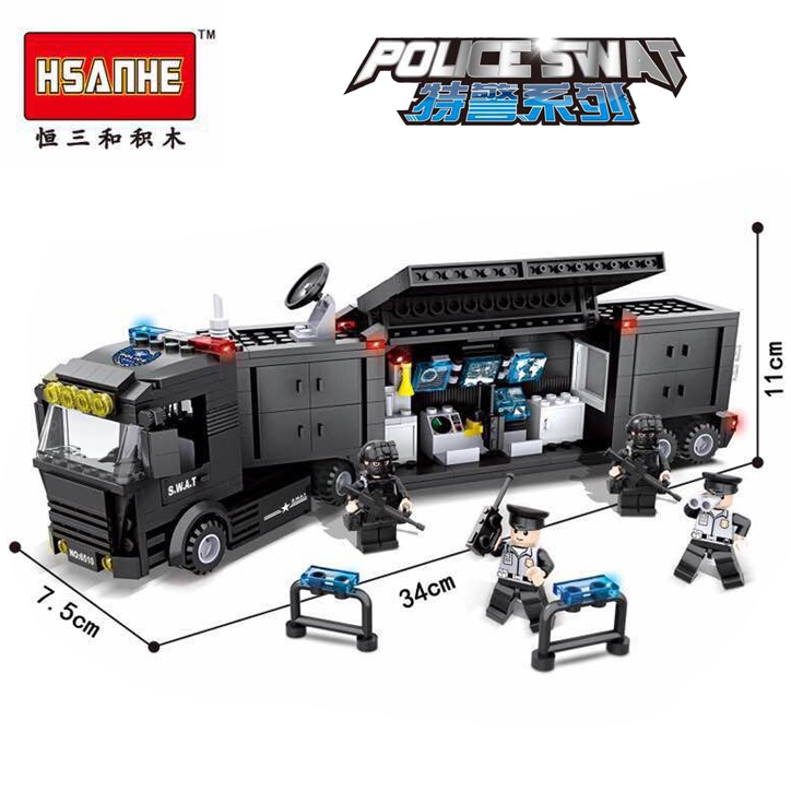 HSANHE Police SWAT Series Military City Armored Truck Command Vehicle Building Block Bricks Toys for Children Legoelieds(China (Mainland))