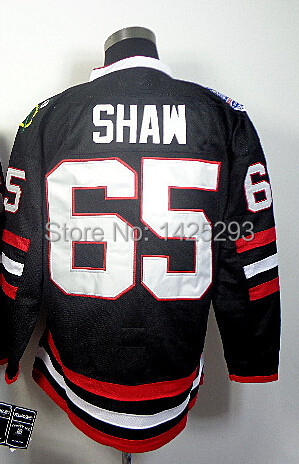 #65 Andrew Shaw Jersey,Ice Hockey Jersey Stitched Logos,Men's Stanley Cup Champions Patch Cheap Chicago Jersey(Black,Red)(China (Mainland))