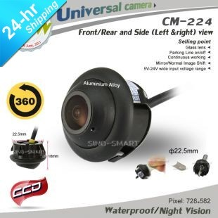 Free shipping wired 360 deg rotation adjustable angle universal front/rear/left/right view parking camera night vision