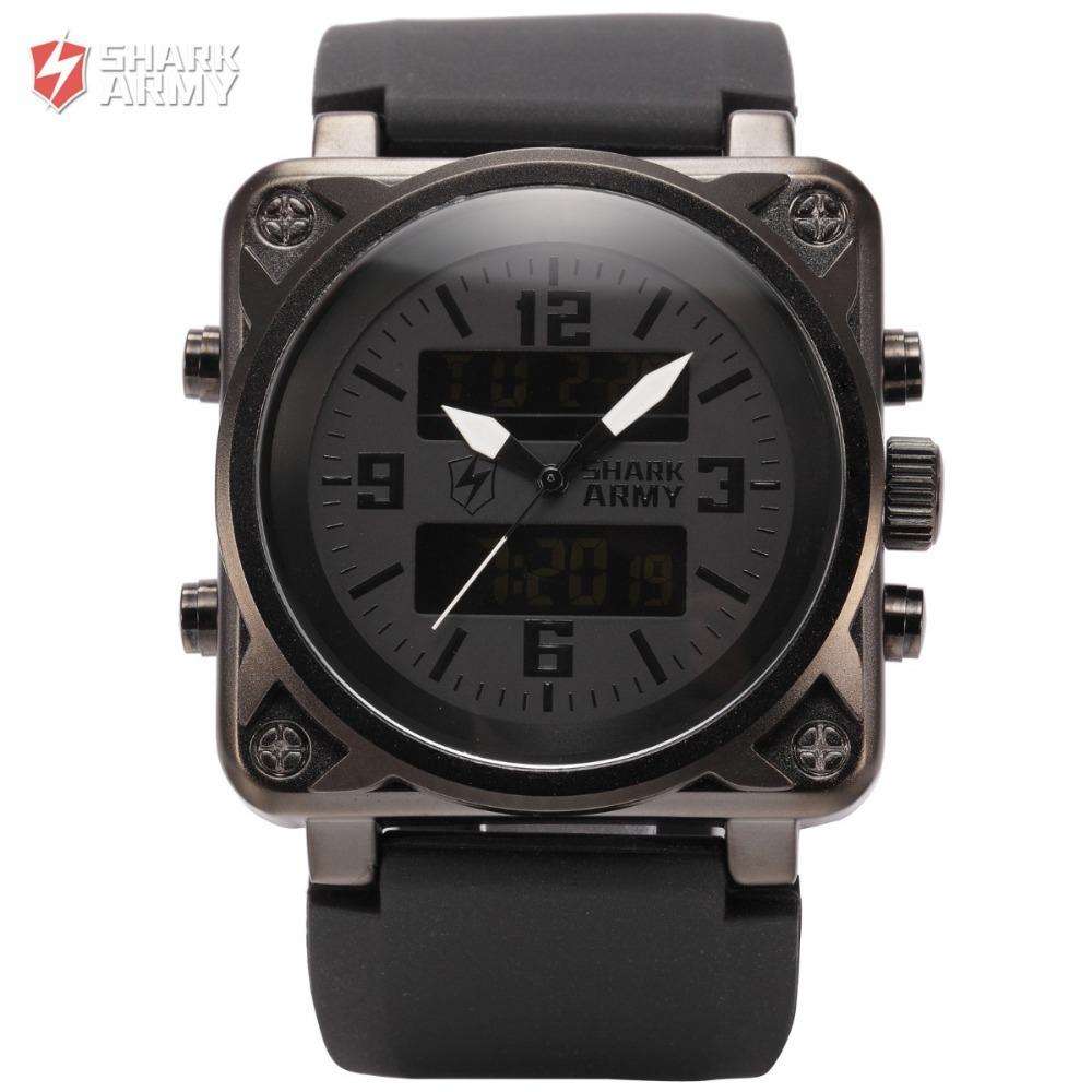 SHARK ARMY Sports Watches Men Digital Clock LCD Display Dual Luminous Alarm Silicone Band Relogio Quartz Military Watch / SAW080(China (Mainland))