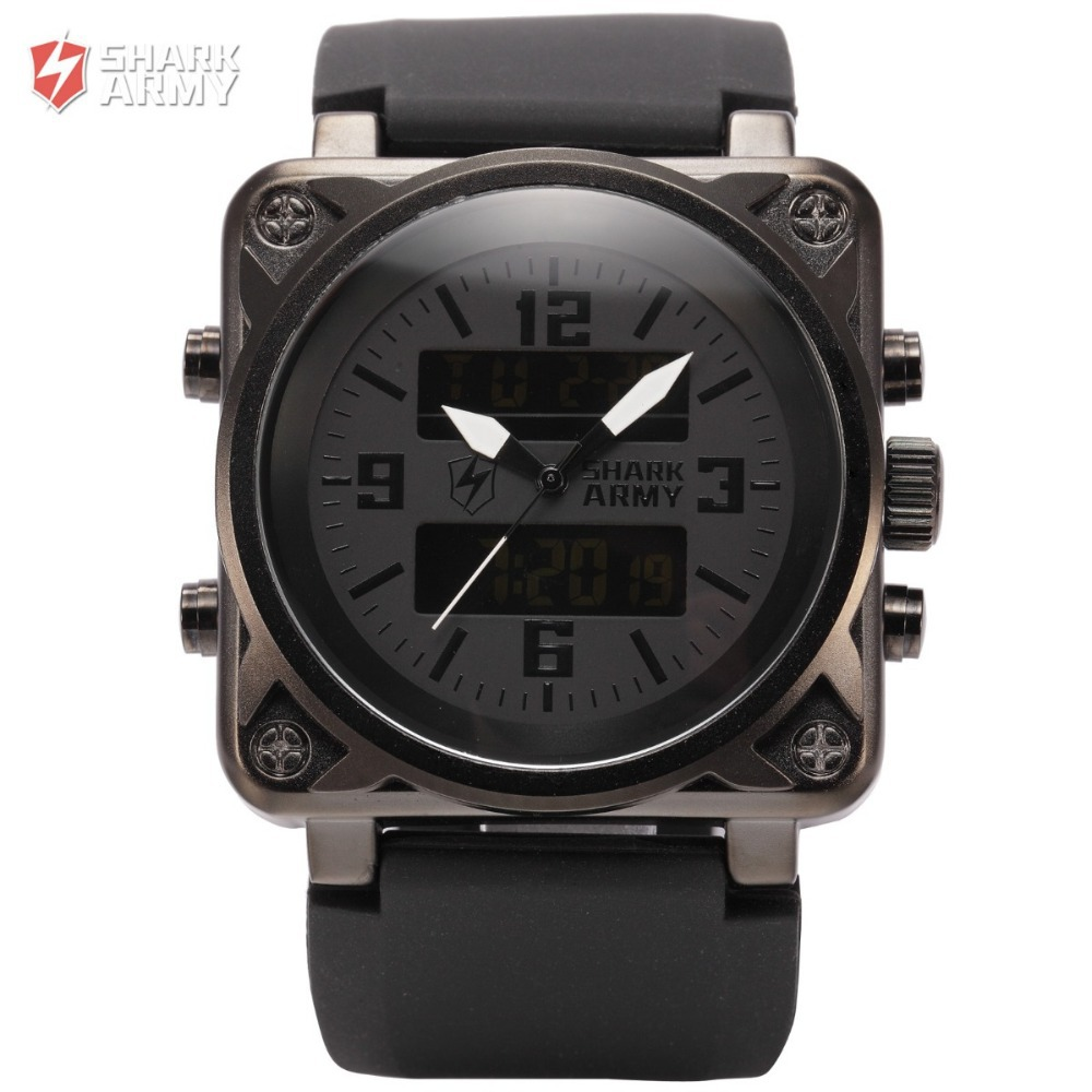SHARK ARMY Sports Watches Men Digital Clock LCD Display Dual Luminous Alarm Silicone Band Relogio Quartz Military Watch / SAW080(China (Mainland))