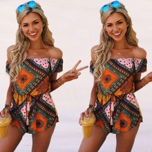 Buy WLKE Rompers Women Jumpsuit Short 2017 Sexy Slash Neck shoulder Print Jumpsuit Elastic Summer Beach Playsuit Overalls KP#953 for $13.99 in AliExpress store