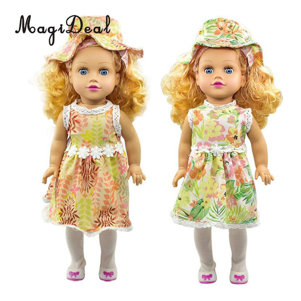 Fashion Doll Outfit Doll Clothing Dress Skirt&Matching Bowler Hat Suit for 18 Inch   Doll Clothing Accessories