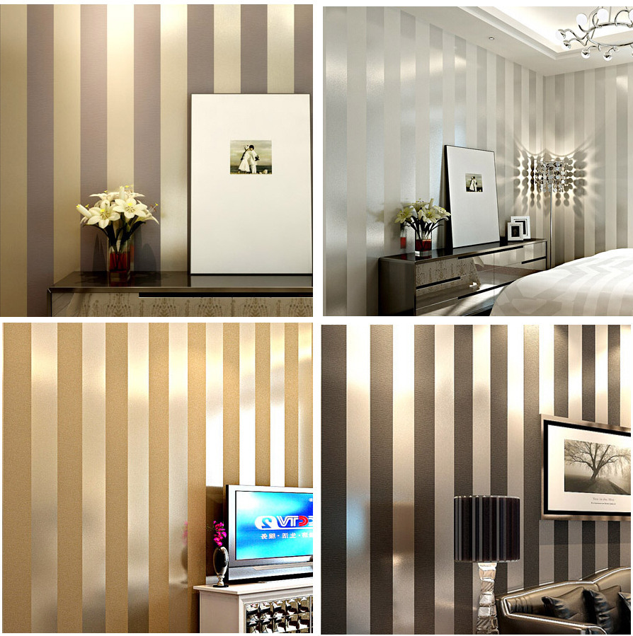 Non-woven black white silver gold glitter striped wallpaper roll papel de parede for livingroom bedroom backgound wall decor(China (Mainland))
