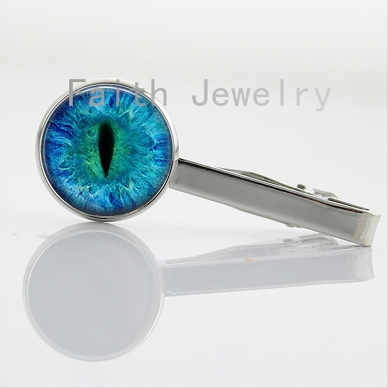 2016 new fashion colored Dragon Cat Eye tie clips charm Green Blue or Purple animal Vertical pupil eyes image tie bar NS069(China (Mainland))