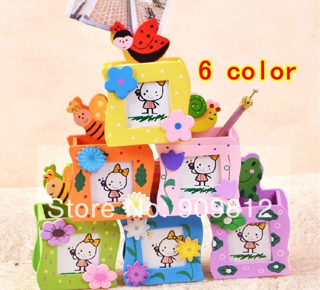 10pcs/lot Free Shipping Multi-function Wooden Pen Holder Photo Frame Wavy Edges Insects Clip Student Prizes 6 color 58g