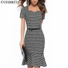 Buy Women Elegant Slimming Work Office Dresses Ladies Houndstooth Knee-Length Mermaid Summer Pencil Bodycon Party Sexy Bodycon S153 for $10.26 in AliExpress store