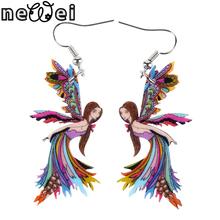 Bonsny Drop Angel Earrings Long Dangle Earring Acrylic Cute Pattern Fashion Jewelry For Women 2015 New Style Girl Accessories