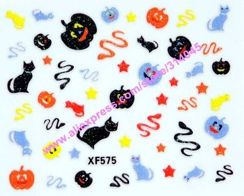 New Listing Free Shipping 30 Kinds Designs Halloween nail stickers decals Holidays Pumpkin decorating stickers