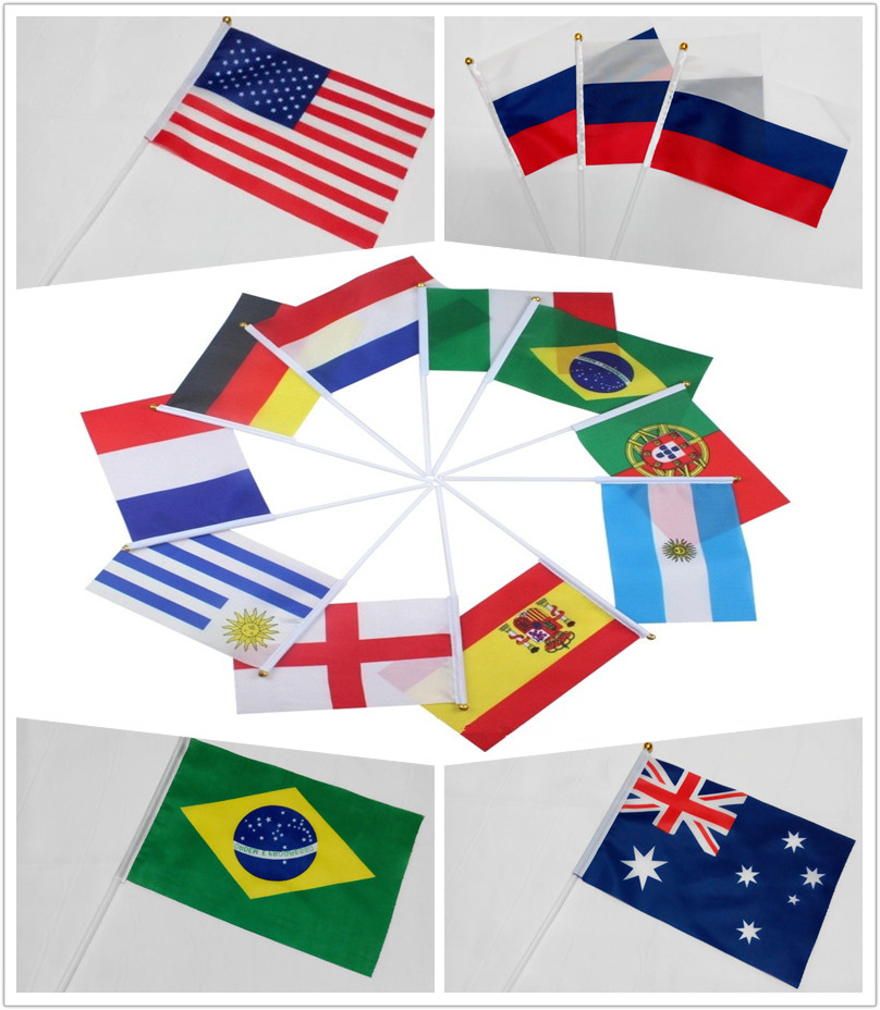 More Countries Small National Flag 14x21cm New Zealand/RUSSIA/America/Brazil Hand Flags Sports Table Parade Decoration(China (Mainland))