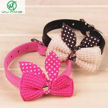 Knit Bowknot Adjustable Leather Wool bows pet plush butterfly collars cat laps dog Puppy PU collars supplies Products favors(China (Mainland))