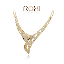 ROXI Classic Genuine White Crystals Fashion Luxury Link Chain Sexy Fox Cute 18K Necklace Big OFF Party(China (Mainland))