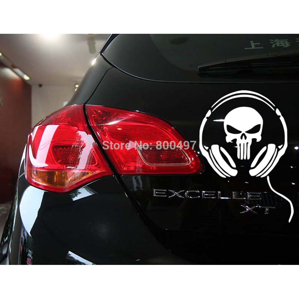 Funny Skull Car Stickers Earphone Ghost Decoration Decal for Toyota Renault Chevrolet Volkswagen Tesla Opel Hyundai Kia Lada(China (Mainland))