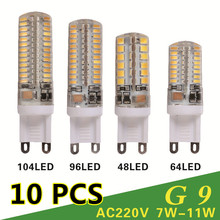 10 PCS/lot G9 LED 220V 7W 9W 10W 11W Corn Bulb 360 degrees Lamp g9 bulbs High Quality Chandelier Light Replace Halogen Lamp(China (Mainland))