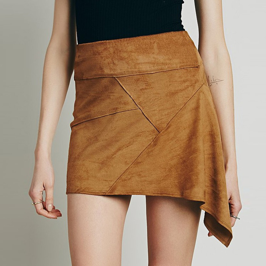 Women Irregular Skirt Suede Solid Skirt OL Fashion Sexy Casual Irregular Hem Mini Skirt Stylish Summer Skirts(China (Mainland))