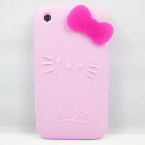 8 Colors Bowknot Hello Kitty Silicone Soft Case Cover For Apple IPHONE 3G 3GS Phone Cases Cover(China (Mainland))