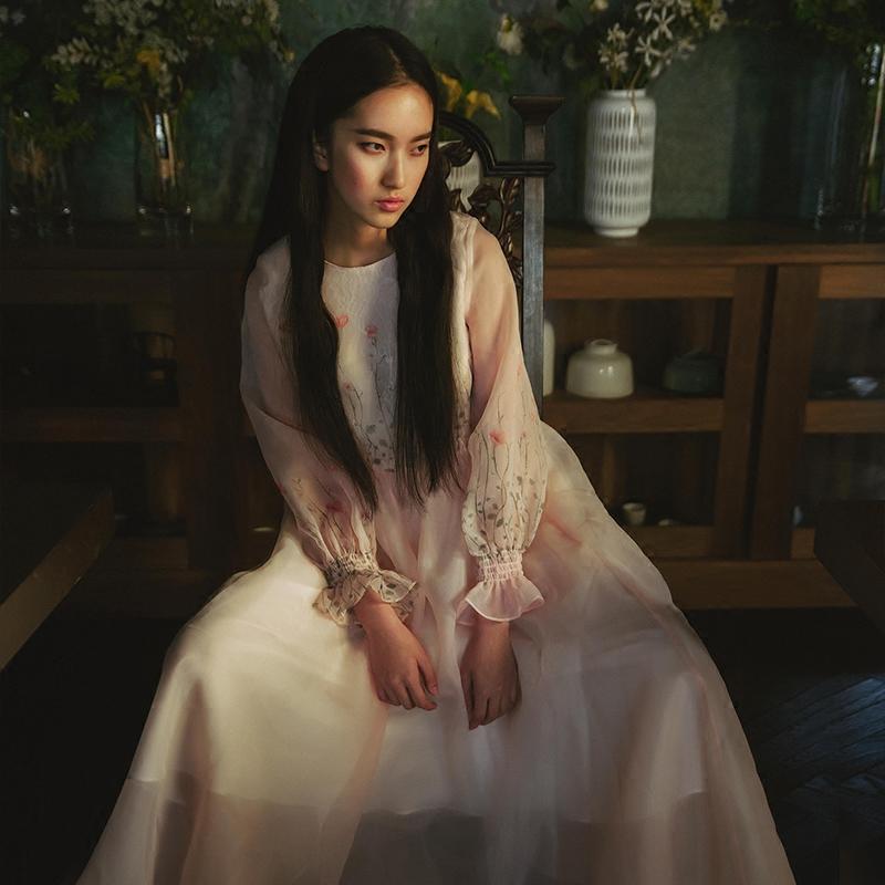 UP016 Cute princess style women summer light pink romantic print lantern sleeve long maxi organza dress 2016(China (Mainland))