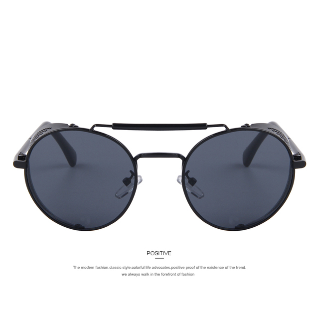Women Retro Design Round Shields Steampunk Sunglasses
