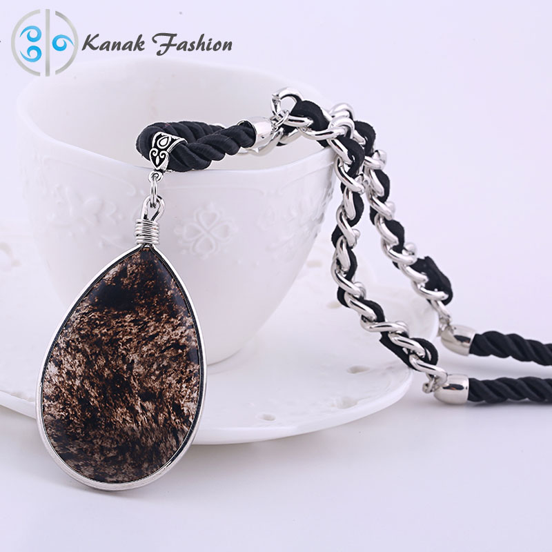 Winter Fashion Class Long Necklace Women Water Drop Polished Stone Pendant Handmade Black Woven Rope Lady Gift Sweater Necklaces(China (Mainland))