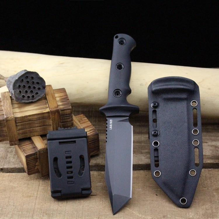 Buy Very sharp High-end Brush Finish DC53 Blade Fixed Tactical Knife,Three Edge Survival Knives Fixed Blade cheap