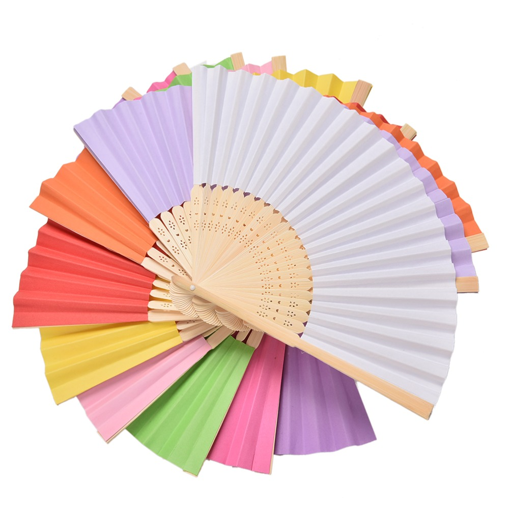 1PCS Chinese Style Bamboo Paper Pocket Fan Folding Foldable Hand Held Fans Wedding Party Favor Event Party Supplies Candy Color(China (Mainland))