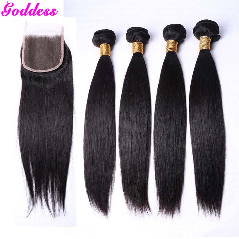 Peruvian virgin hair straight with closure 3 bundles with closure 7a  Peruvian straight virgin hair with closure 100g bundles