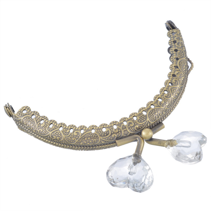 100Pcs Vintage Clutch Coins Purse Arc Frame Kiss Clasp Bronze Tone Resin Heart Beads Buckle Handbag Handle Making 8.9x7.5cm<br><br>Aliexpress