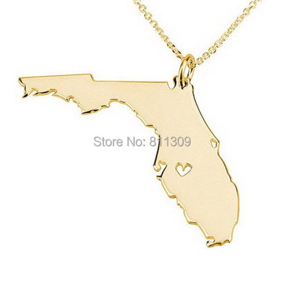 Florida State Necklace State Charm Necklace State Shaped Necklace Personalized Necklace Gold place With A Heart(China (Mainland))