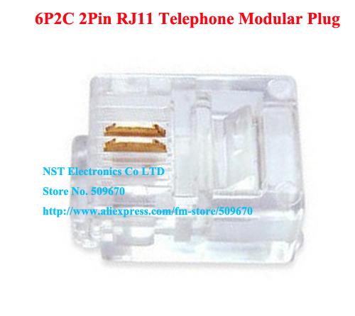 Free Shipping /100pcs/High Quality 6P2C 2Pin RJ11 Telephone Modular Plug Jack Adapter Connector New(China (Mainland))