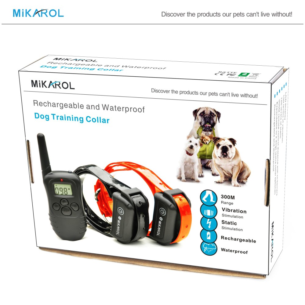 Pet Collar Trainer Rechargeable and Waterproof 300M Range Electronic Dog Training Collar for 2 dogs(China (Mainland))