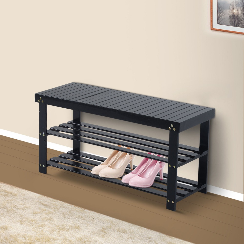 Wooden Shoe Bench Storage Seat Entryway Furniture Black New In Shoe Cabinets From Furniture On